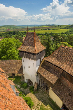 Romania, Transylvania, Viscri, village with fortified church, listed as World Heritage by Unesco, the fortified church