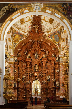 Spain, Andalusia, Costa del Sol, Malaga Province, Antequera, white village, Iglesia del Carmen, altarpiece (Altar Mayor), the work of a local craftsman, is considered to be the most beautiful baroque...