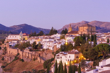 Spain, Andalusia, Malaga Province, Ronda, white villages road (Ruta de los Pueblos Blancos), general view of the eastern side of the city and the Xijara fortified wall
