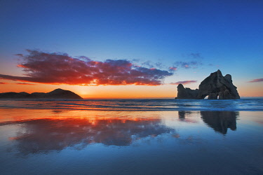 Coast landscape with Archway Islands - New Zealand, South Island, Tasman, Golden Bay, Puponga, Wharariki Beach, Archway Islands
