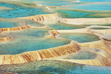 Travertine terrace in HuangLong - China, Sichuan, Huanglong, Multicoloured Pond