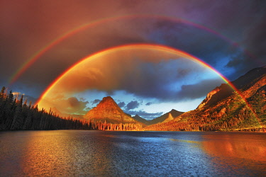 rainbow at Two Medicine Lake with Sinopah Mountain - USA, Montana, Glacier National Park, Two Medicine Lake - Rocky Mountains