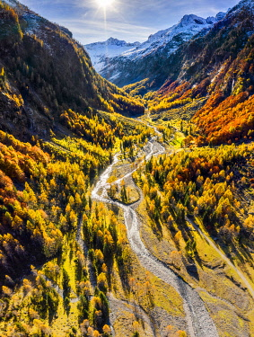 Aerial view of wild torrent in autumn. Val Bodengo(Bodengo valley), Valchiavenna, Valtellina, Lombardy, Italy, Europe.
