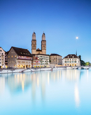 Switzerland. Zurich. The old town from the Limmat River.