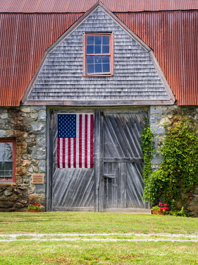 USA, Maine. Historic Stone Barn Farm (1820) in Bar Harbor.