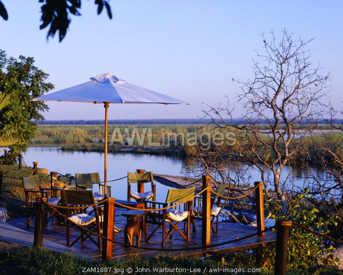 Zambia, Lower Zambezi National Park, Sausage Tree Camp. Deck looking out towards the Zambezi River.