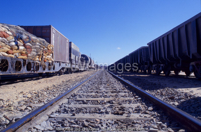The Railways of of the Goods Transport Station at Nouadhibou Port, showing carriages laiden down with goods ready for transportation to the container ships.