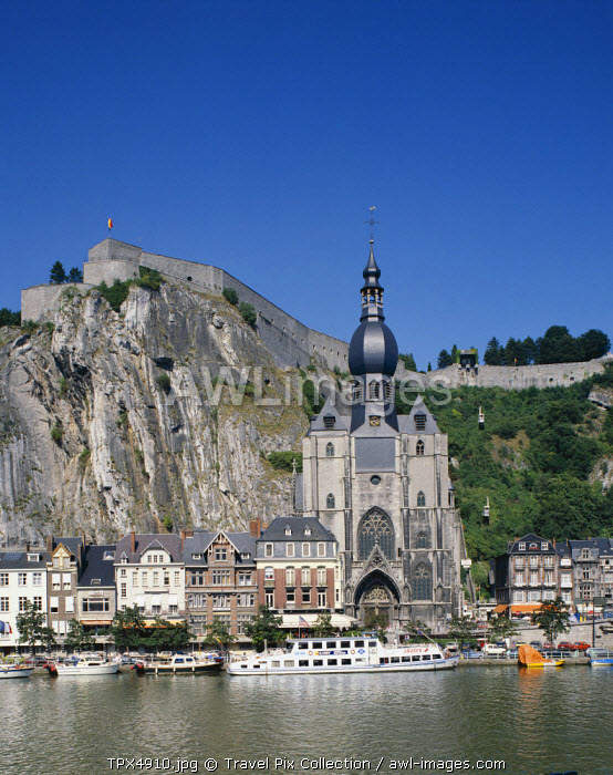 Notre Dame Cathedral & The Citadel & Meuse River, Dinant, Ardennes, Belgium