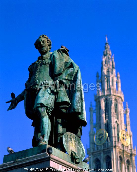 Rubens Statue, Antwerp, Eastern Flanders, Belgium