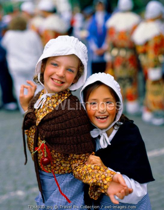 Girls Dressed in National Costume, Ghent, Western Flanders, Belgium