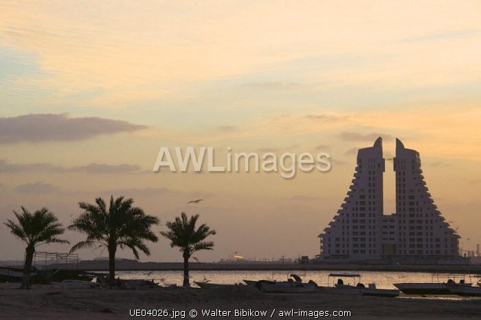 Bahrain, Manama, Highrises along the Arabian Gulf
