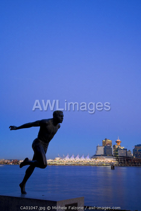 Statue of Canadian Athlete Harry W. Jerome, Stanley Park, Vancouver, British Columbia, Canada