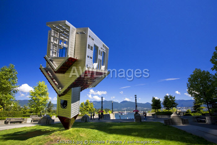 "Sculpture ""Device to root out evil"" (D. Oppenheim), Vancouver Waterfront, British Columbia, Canada"