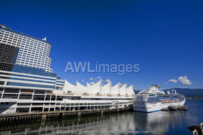 Canada Place Complex and Cruise Ship, Vancouver, British Columbia, Canada