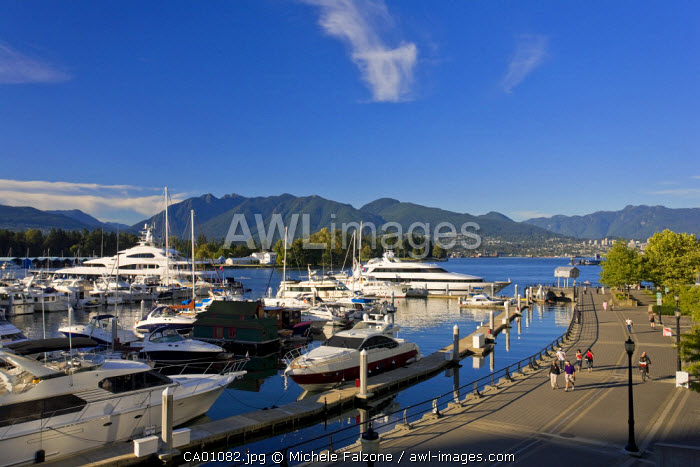 Yachts moored in Coal Harbour, Vancouver, British Columbia, Canada