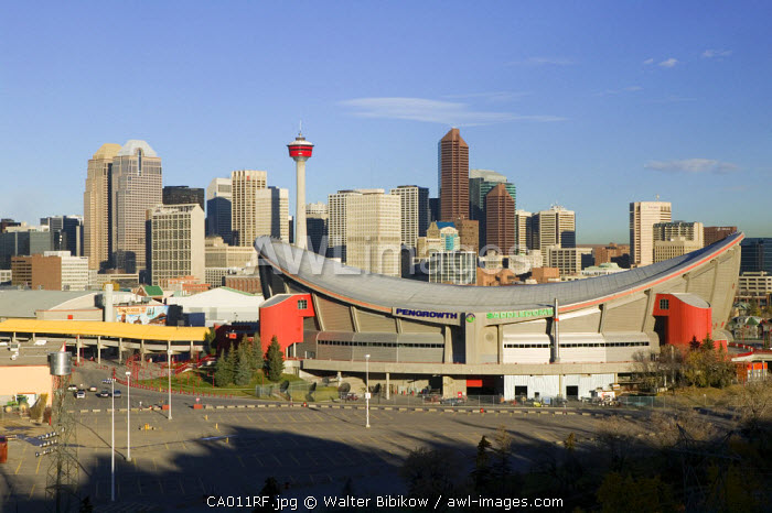 Saddledome & City skyline, Calgary, Alberta, Canada