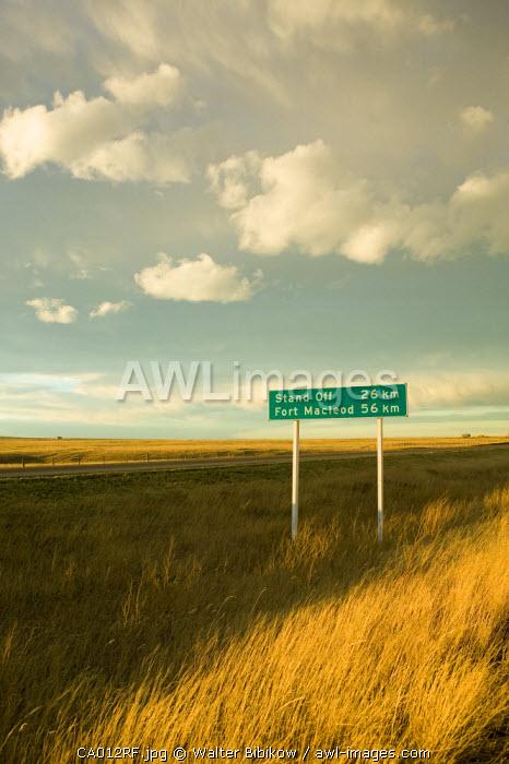 Road sign, Alberta, Canada