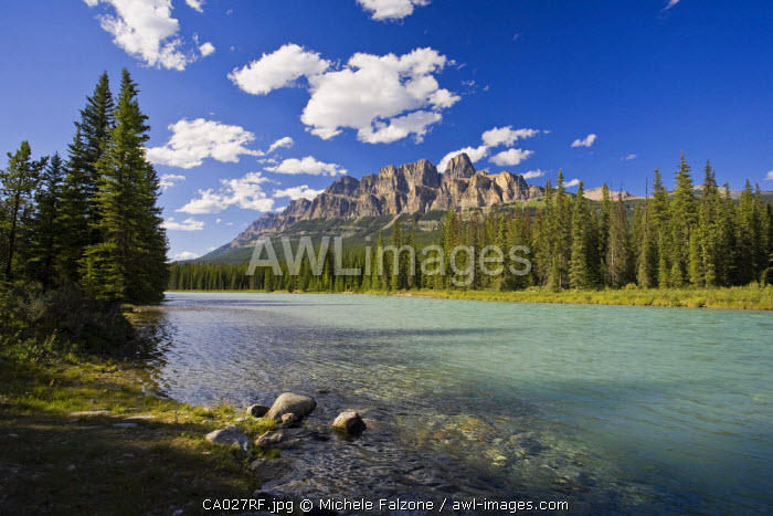 Castle Mountain and Bow River, Banff National Park, Alberta, Canada