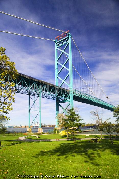 Ambassador Bridge across the Detroit River, Windsor, Ontario, Canada