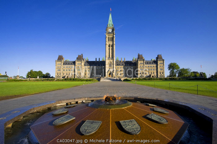 Canadian Parliament & Centennial Flame Monument, Parliament Hill, Ottawa, Ontario, Canada