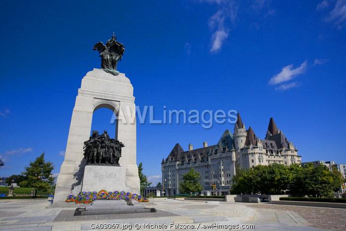 National War Memorial & Fairmont Chateau Laurier Hotel, Ottawa, Ontario, Canada