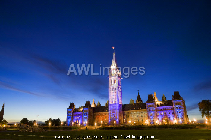 Lights and sound show, Parliament Hill, Ontario, Canada
