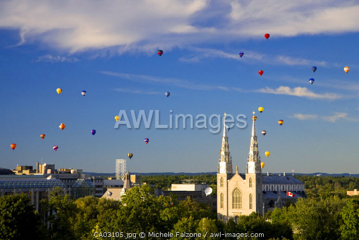 Hot Air Balloons and Notre Dame Cathedral-Basilica, Ottawa, Ontario, Canada