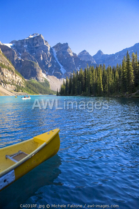 Lake Moraine and Valley of 10 Peaks (Wenkchemna Peaks) at sunrise, Banff National Park, Alberta, Canada