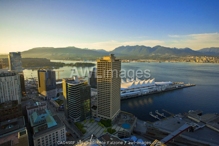 Vancouver Harbour and Canada Place Complex from LOOKOUT! Tower, Vancouver, British Columbia, Canada