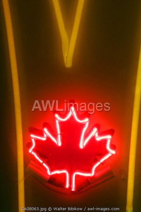 Neon Maple Leaf, Edmonton, Alberta, Canada