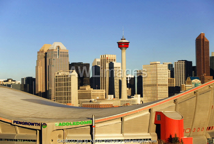 Saddledome & City skyline, Calgary, Alberta, Canada