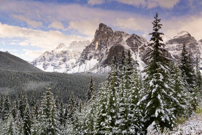 Wenkchemna Peaks over Moraine lake in the snow, Banff-Jasper National Parks, Alberta, Canada