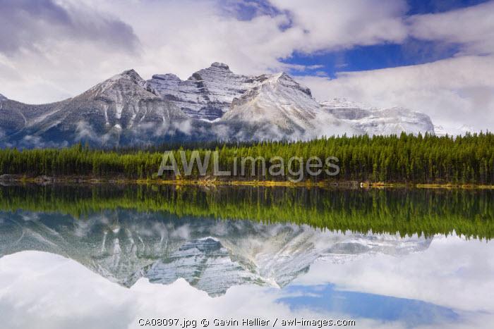 Bow mountain range & Herbert Lake, Rocky mountains, Banff National Park, Alberta, Canada