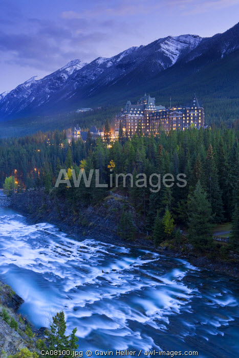 Banff Springs Hotel from Surprise Point & Bow river, Banff National Park, Alberta, Canada