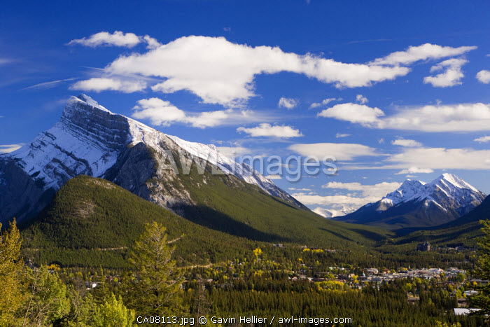 View of Banff, Rocky mountains, Banff National Park, Alberta, Canada