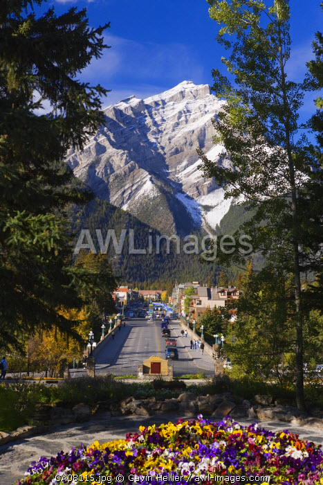 Banff Avenue, Cascade Mountain looms above the town of Banf, Banff National Park, Alberta, Canada