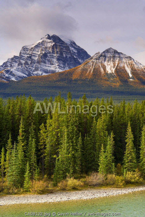 Rocky mountains from Morant's Curve on the CPR line along the Bow River, Banff National Park, Alberta, Canada