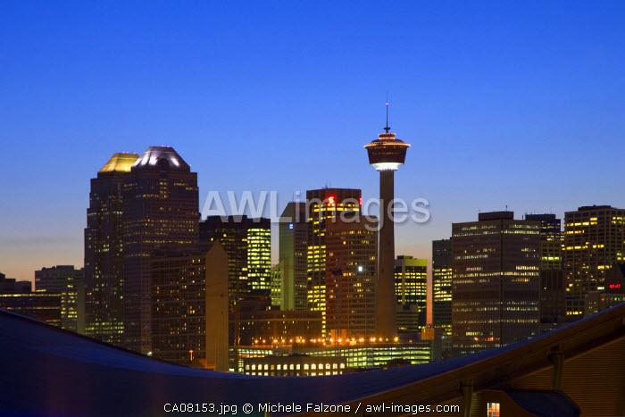 Skyline of downtown Calgary at Dusk and Saddledome, Calgary, Alberta, Canada