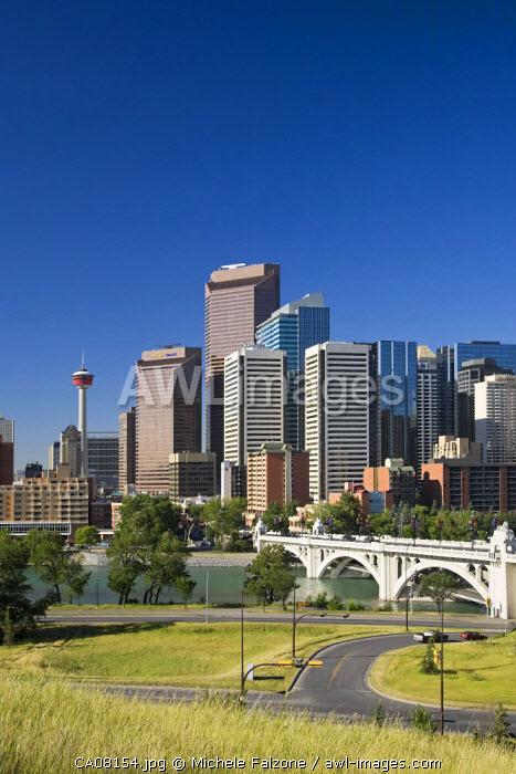 Skyline of downtown Calgary and Centre Street Bridge, Calgary, Alberta, Canada