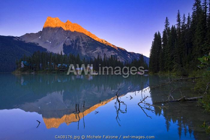 Mount Burgess and Emerald Lake at sunset, Yoho National Park, British Columbia, Canada