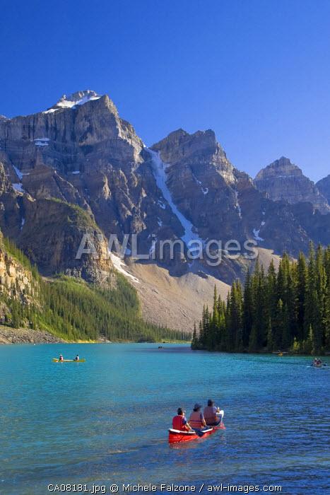 Moraine Lake and Valley of 10 Peaks (Wenkchemna Peaks) at sunrise, Banff National Park, Alberta, Canada