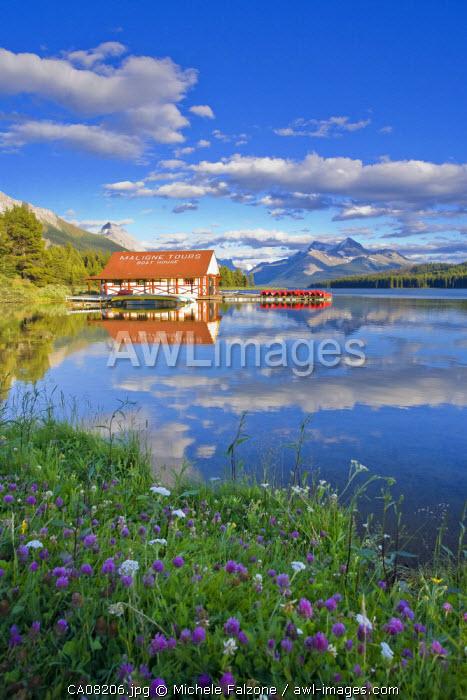 Boathouse and Maligne Lake, Jasper National Park, Alberta, Canada
