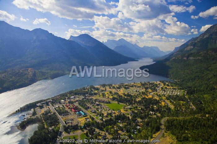 Waterton Town and Lake, Waterton Lakes National Park, Alberta, Canada