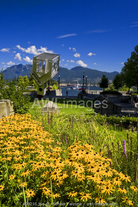 """Sculpture """"Device to root out evil"""" (D. Oppenheim), Vancouver Waterfront, British Columbia, Canada"""