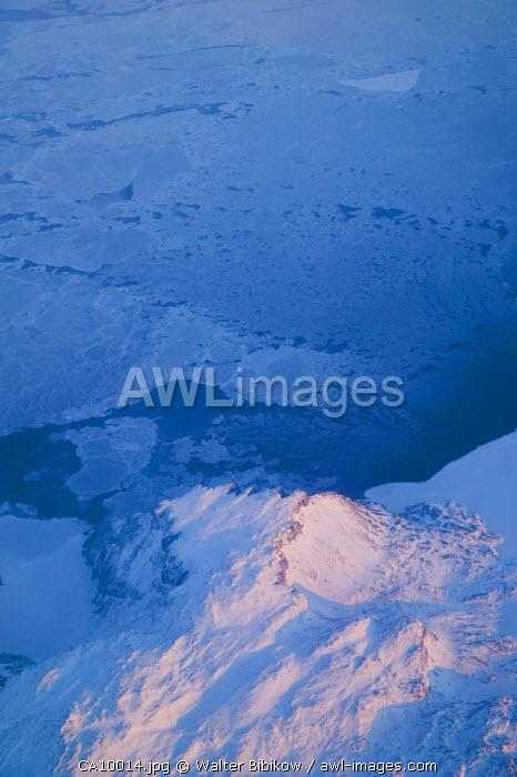 Canada, Northwest Territories, Aerial View of Hudson Bay in Winter