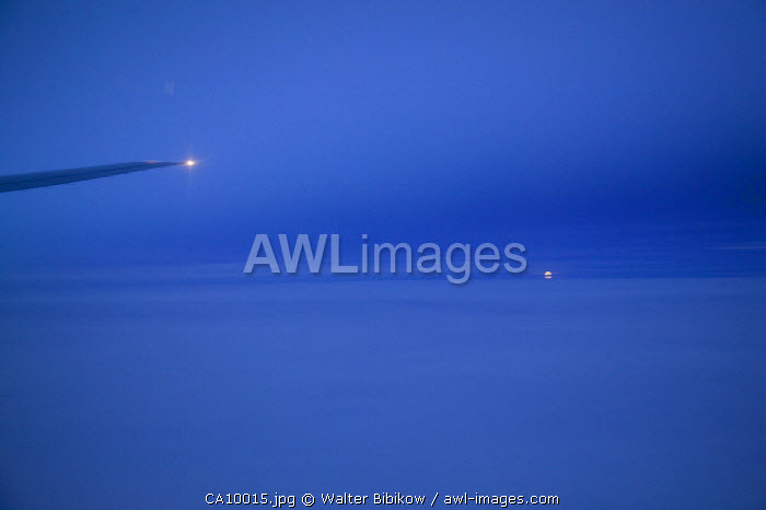 Arctic, Northern Canada, aerial view of Moonrise
