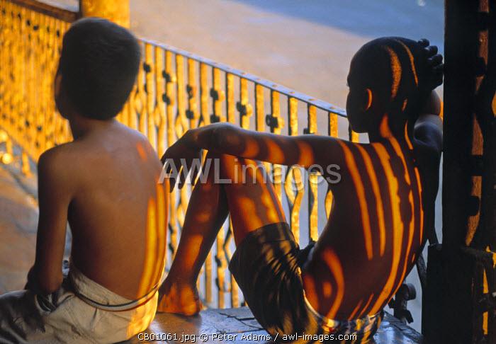 2 boys on a balcony, Cuba