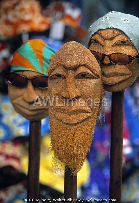 Coconut head souvenirs, Rarotonga, Cook Islands