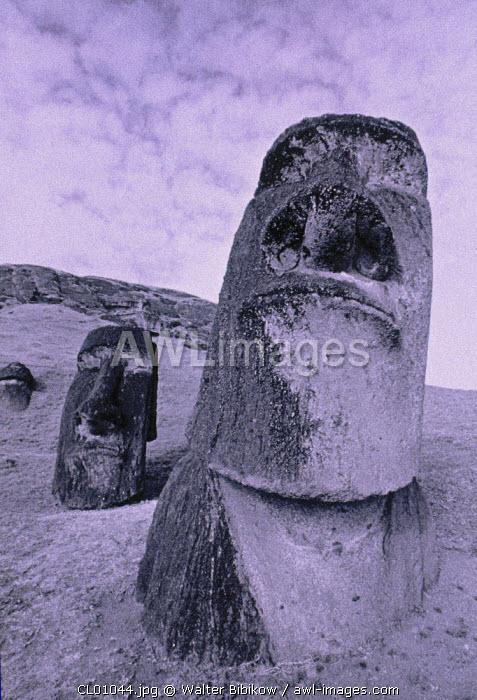 Moais, Rano Raraku Volcano, Easter Island, Chile