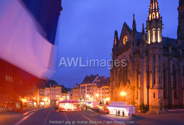 Place de la Reunion & Temple St-Etienne Church, Mulhouse, Alsace, France